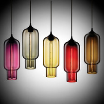 Modern Color Glass Ceiling Lamp E27 Hanging Light Crystal Tube Pendant - $66.57+