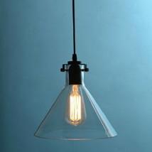 Clear Glass Funnel Pendant Ceiling Lamp Restoration Light Fixture Chandelier E27 - $56.84