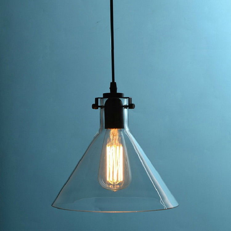 Retro Simple Crystal Funnel Ceiling Lamp E27 Haning Light Clear Glass Pendant - $57.07