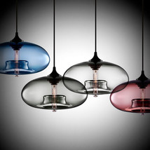 Modern Color Glass Ceiling Lamp E27 Hanging Light Crystal Bubble Pendant - $56.90+