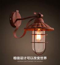 Vintage Antiqued Rust Wall Mount Lamp E27 Light Barn Outdoors Glass Caged Sconce - $115.64