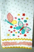 Embroidered Butterflies Cotton Kitchen Tea Towel / Drying Cloth RikRak -... - $14.36