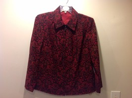 Great Used Condition Notations 1X Deep Red Black Floral Zip Up Jacket Collar