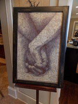 """Wedding Guest Book Alternative Puzzle, Hand In Hand, Framed 18"""" x 26""""  - $220.49"""