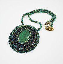 Necklace green Stone malachite embroidered bead... - $70.00