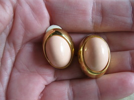 Joan Rivers Pink and Gold Tone Clip On Earrings Retired QVC  - $13.00