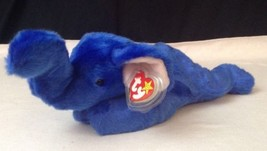 1998 Ty BEANIE BUDDY (buddies) rare ROYAL BLUE PEANUT ELEPHANT plush NEW... - $35.59