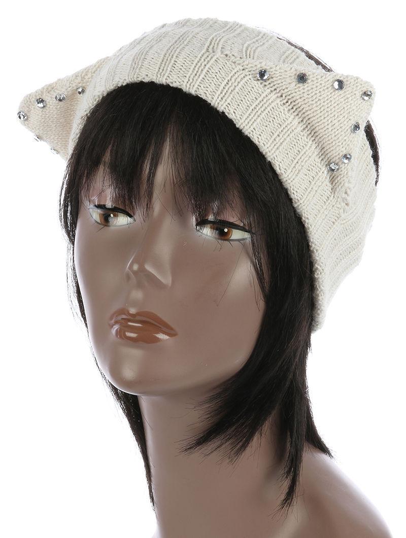 Cute! Rhinestone Cat Ears Winter Headband Trendsetter Runner Gear Beige