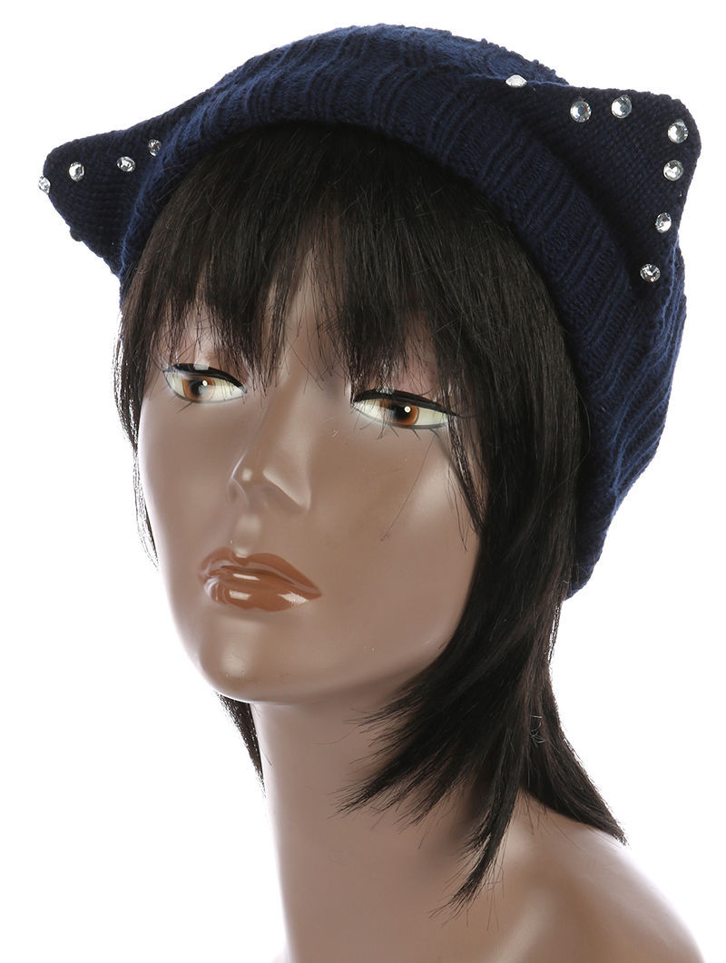 Cute! Rhinestone Cat Ears Winter Headband Trendsetter Runner Gear Navy Blue