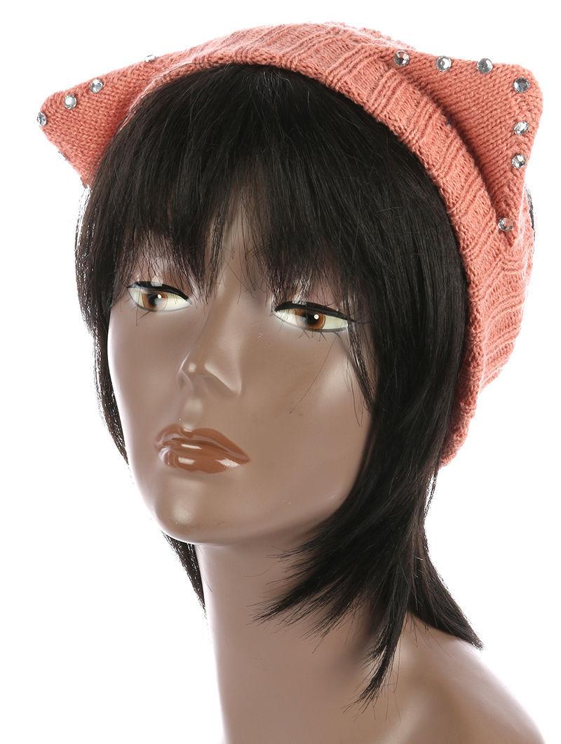 Cute! Rhinestone Cat Ears Winter Headband Trendsetter Runner Gear Peach