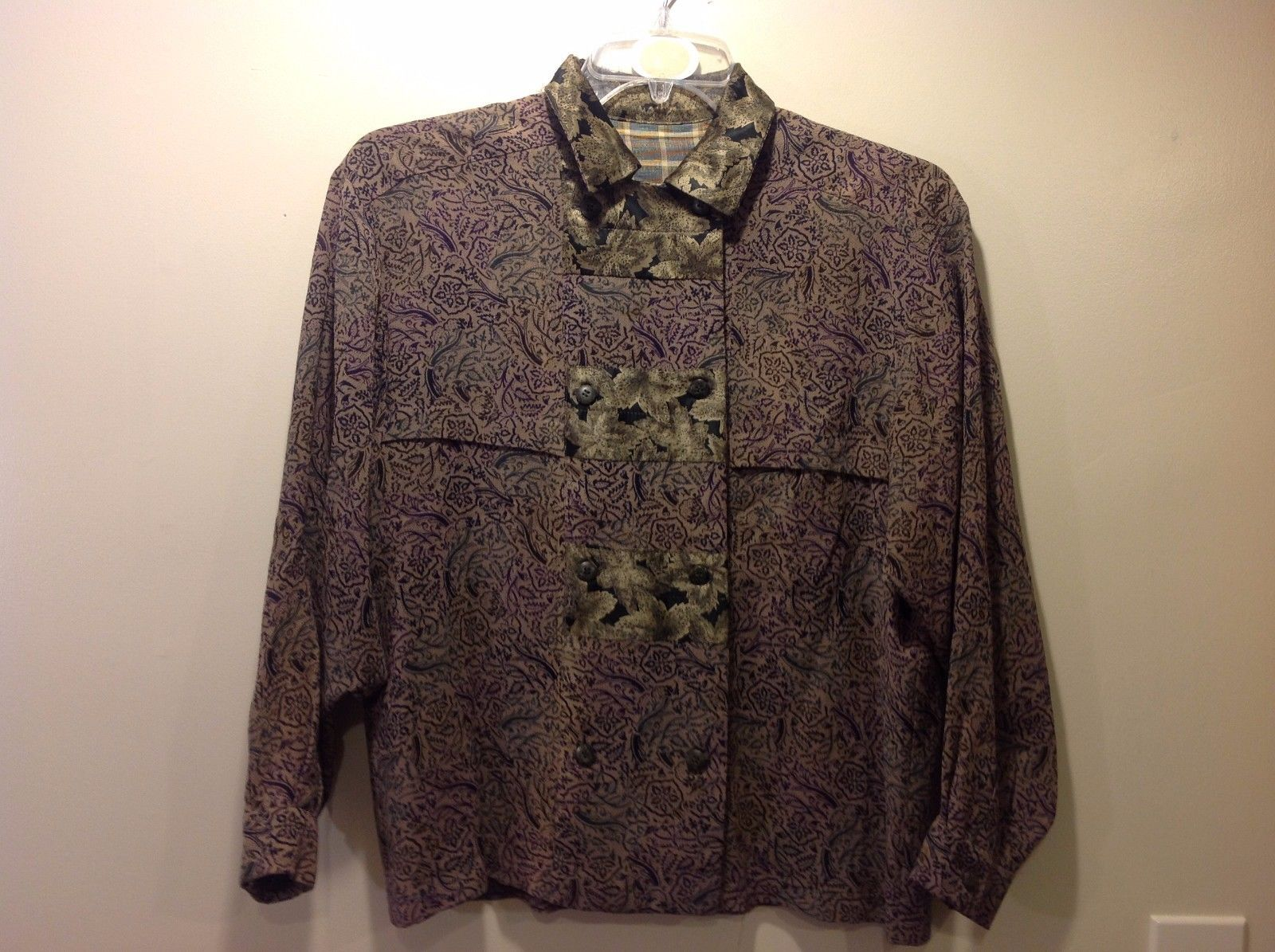 Used Condition Asian-esque Long Sleeve Shirt Button Up Brown Leafy Design
