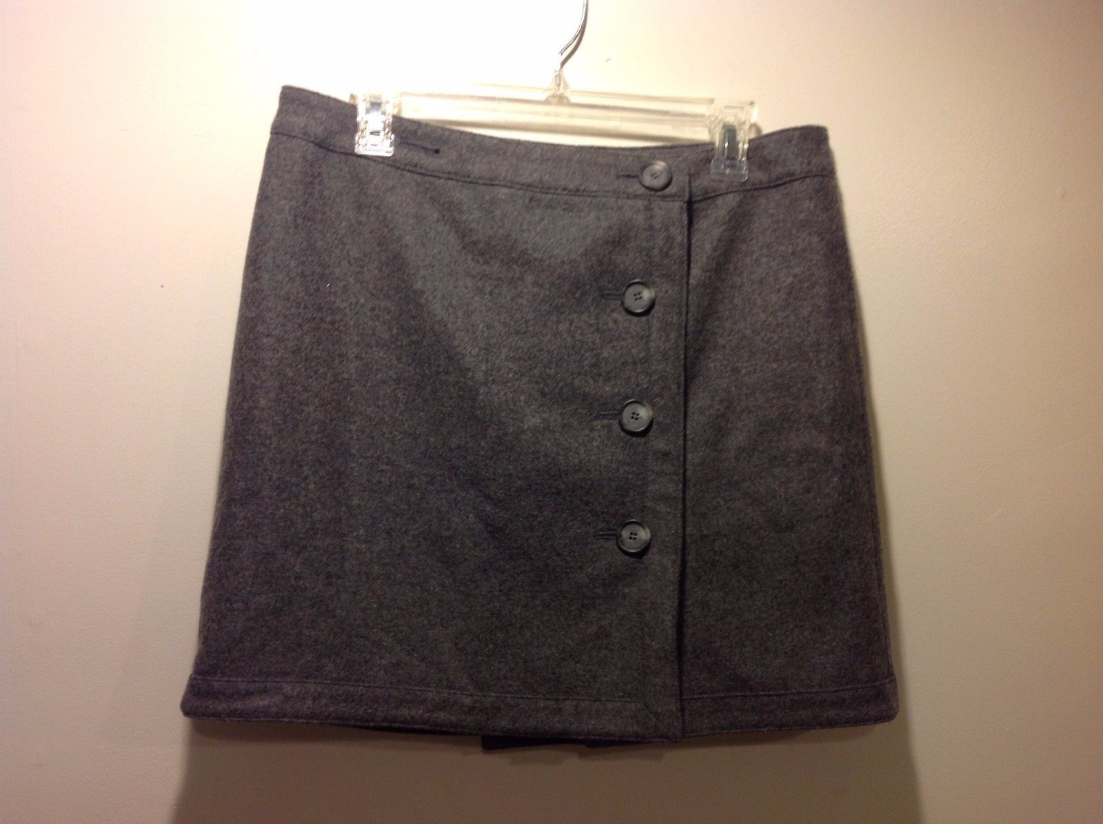 Used Great Condition Ann Taylor Loft Size 10 Medium Gray Skirt Button Up Front