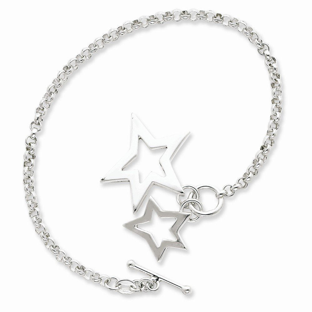 Sterling Silver Fancy Stars Bracelet, Best Quality Free Gift Box Satisfaction...