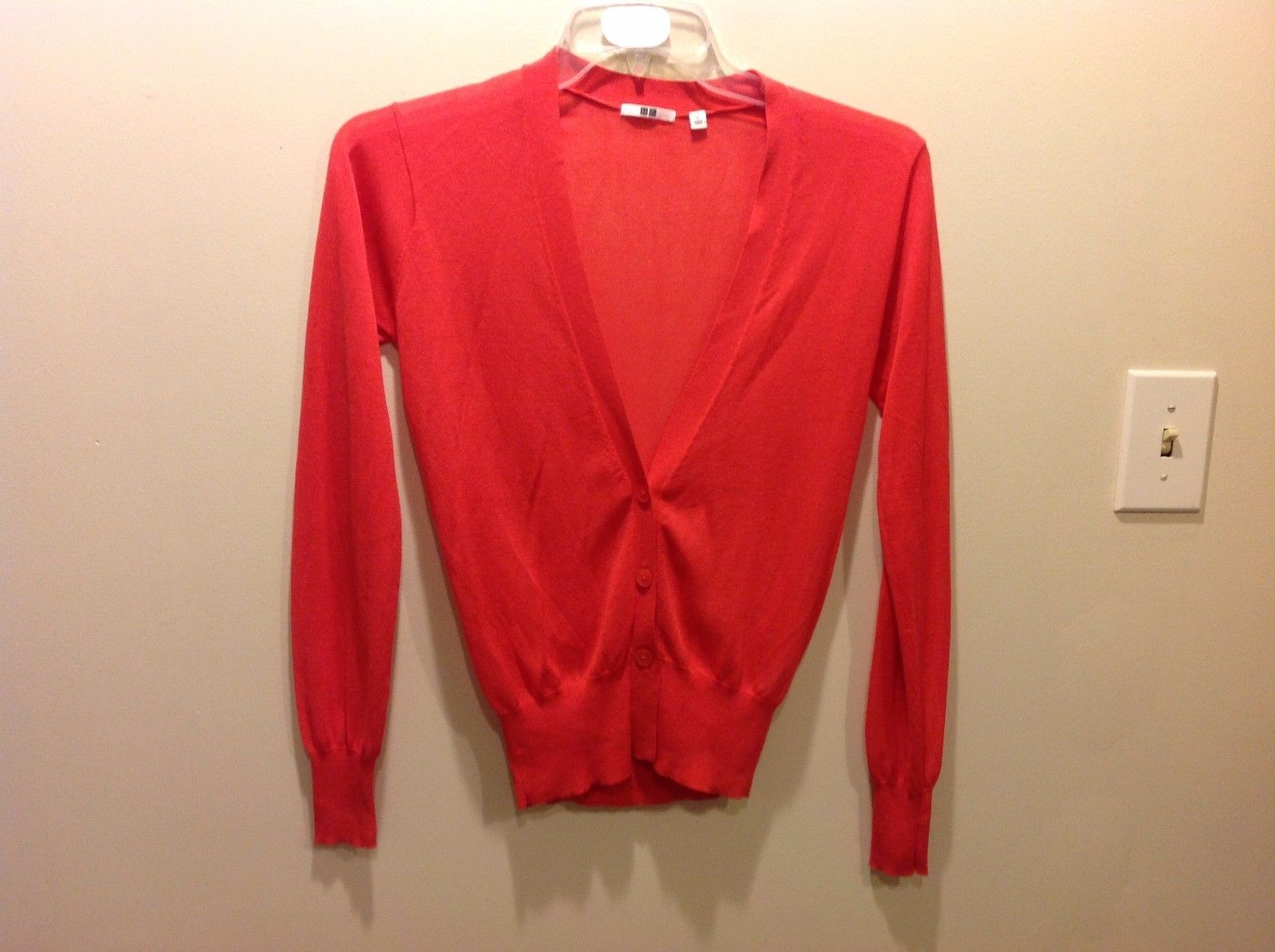Used Good Condition UNI QLO Small Bright Neon Pink Cardigan V-Neck Semi-Sheer