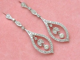 ESTATE EDWARDIAN 1.60ctw DIAMOND PLATINUM LONG STUD DANGLE COCKTAIL EARR... - $3,856.05