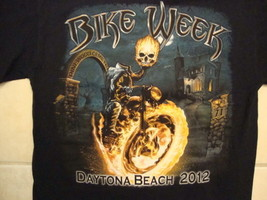 Bike Week Daytona Beach 2012 Motorcycles Fire Skull Black Cotton T Shirt Size M - $18.50