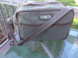 Vintage Jordache Tweed Carry On Luggage Over Night Tote Shoulder Bag Bro... - $39.95