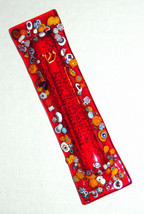 Murano Glass Handmade Mezuzah Case 10 cm w Scroll Red Murrina Italy
