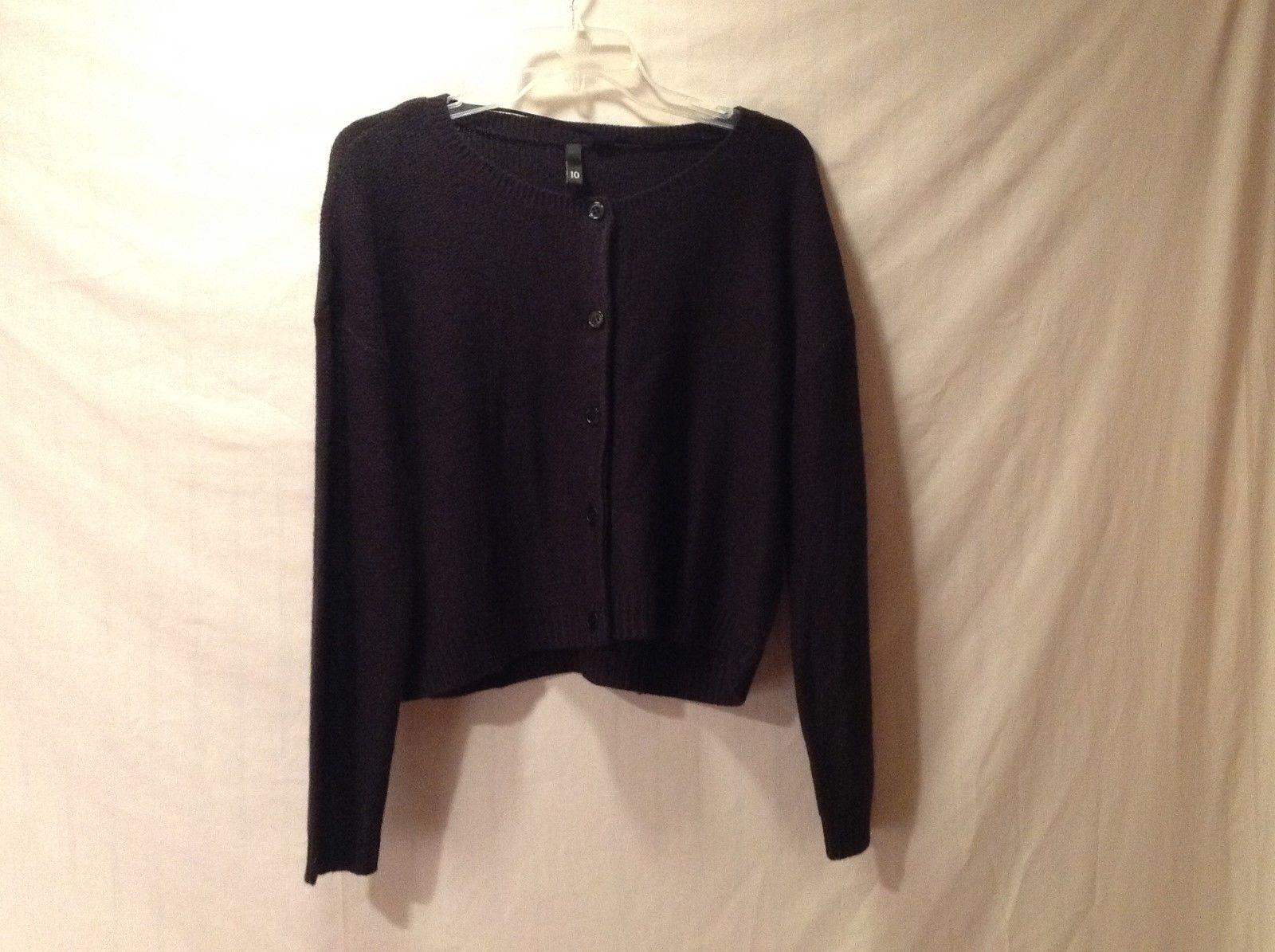 Womens H&M DIVIDED Black Waist Length Cardigan/Sweater Size 10