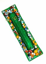 Murano Glass Handmade Mezuzah Case 10 cm w Scroll Green Murrina Italy