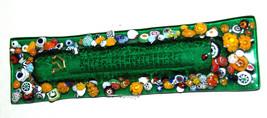 Murano Glass Handmade Mezuzah Case 10 cm w Scroll Green Murrina Italy image 2