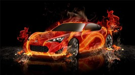 Scion Fr S Poster 24 X 36 Inch On Fire Sports Car, Toyota, Man Cave Decor, - $18.99