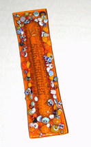 Murano Glass Handmade Mezuzah Case 10 cm w Scroll Orange Murrina Italy image 2