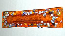 Murano Glass Handmade Mezuzah Case 10 cm w Scroll Orange Murrina Italy image 3