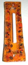 Murano Glass Handmade Mezuzah Case 10 cm w Scroll Orange Murrina Italy image 4