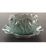 Cabbage Design Bowl & Underplate, Hand Painted Japan, Pearlized Green & ... - $14.75