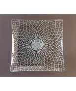 Square Glass Decorative Plate, White Applied Design - $14.90