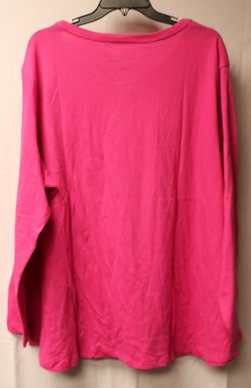 NEW WOMENS PLUS SIZE 4X 26W 28W BRITE PINK LONG SLEEVE CREW NECK TEE T SHIRT TOP