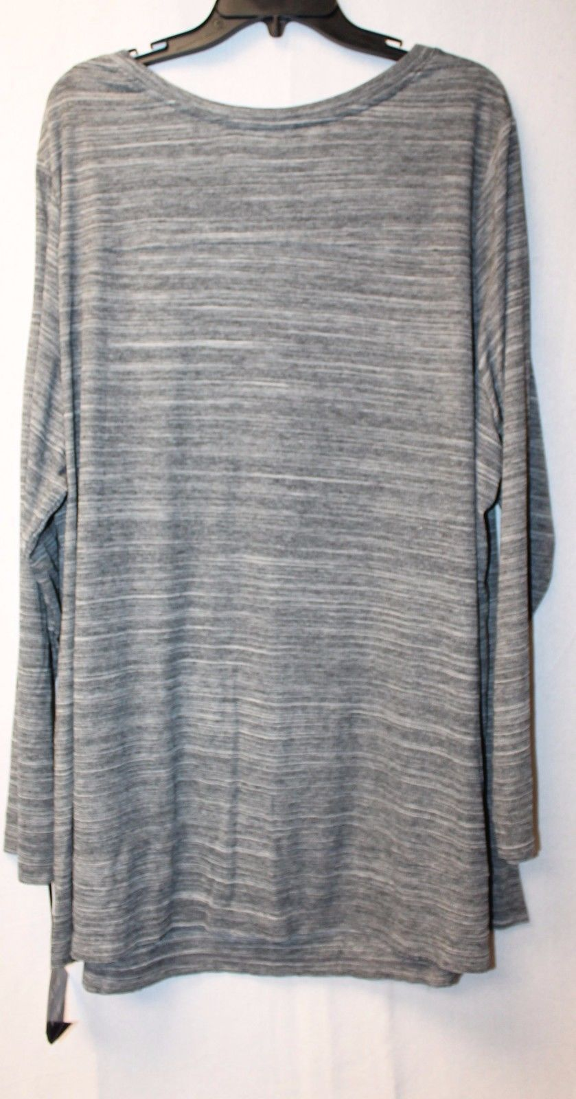 NEW AVA & VIV WOMENS PLUS SIZE 3X GRAY GREY STRIPEY LONG SLEEVE SEAMED SHIRT TOP