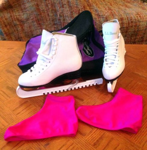 LL Bean Figure Skating White Ice Skates Size 4.5 with Pink Boot Covers, White Bl - $90.00