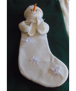 Snowman Christmas Stocking White W/Flower & Ribbon/Pearl Appliques - $14.85