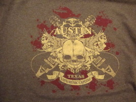 Austin Texas Live Music Capitol Music Souvenir Brown Cotton T Shirt Size XL - $17.56