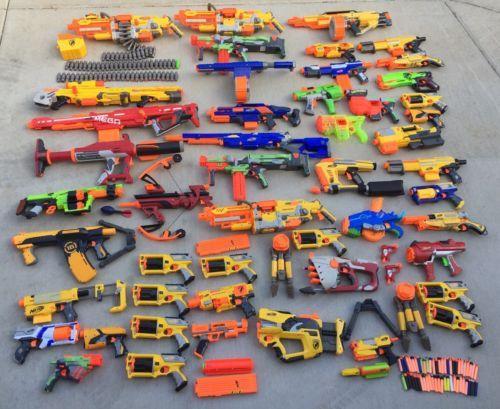 Huge Nerf Gun Lot 47 Guns Plus Accessories Elite Mega Vortex N Strike