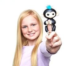 Fingerlings - Interactive Baby Monkey - Finn (Black with Blue Hair) By W... - $18.59