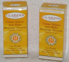 Clarins Sun Wrinkle Control Cream For Face SPF 15 - NIB - Travel Size - Lot of 2 - $7.98