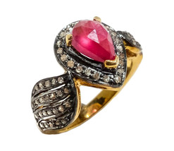 Victorian 1.32ct Rose Cut Diamond Ruby Engagement Women's Ring - $415.77
