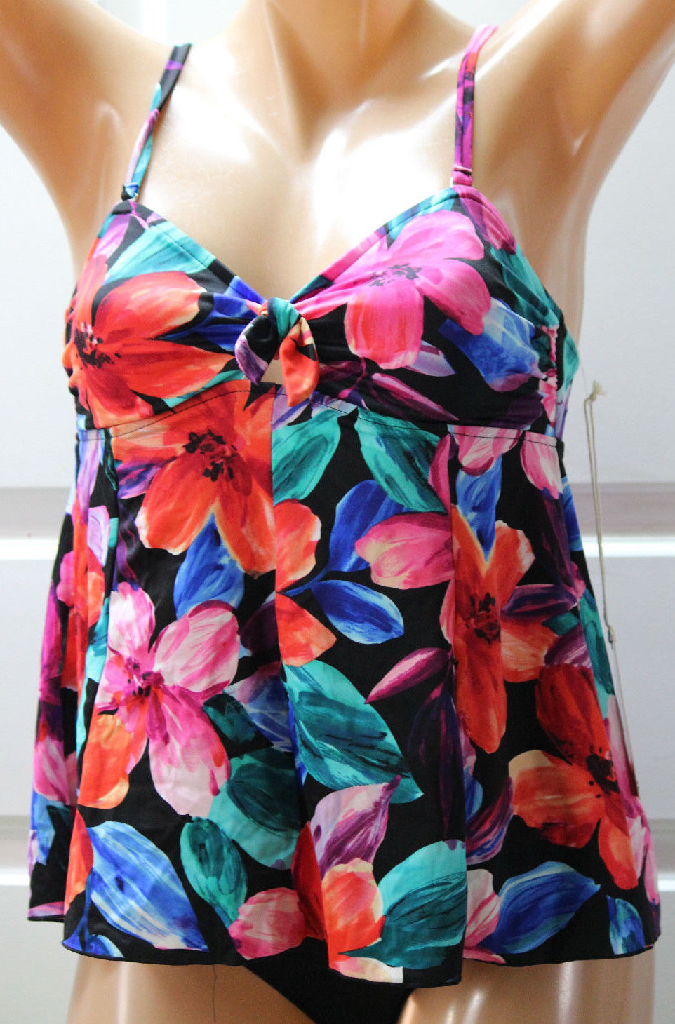 NWT Caribbean Joe Floral Swim Tankini Top Multi-Color (Missing Straps) Size 10 - $9.35