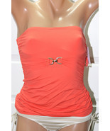 NEW Michael Kors Hot Coral Underwire Swimwear Bandini Top XS Strapless M... - $17.31