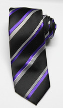 NEW Men's Alfani Cpatain Wardrobe Striped Neon Purple Tie W/ Clip One Size - $6.92