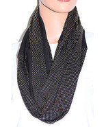 NWOT Echo Mini Studded Pattern Black Infinity Loop Scarf 707132 36x20 - £4.95 GBP
