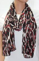 NWT Calvin Klein Black-Red Multi Pattern Wrap Scarf A4WI1091 72x28 - $10.39