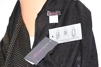 NWOT Echo Mini Studded Pattern Black Infinity Loop Scarf 707132 36x20