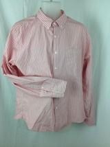 J CREW 100% Cotton Button Down Shirt Mens Sz Large Pink  / Red & White Striped - $21.56