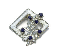 Square Flower Brooch, With Blue Rhinestones Set In Silver Tone Metal - $19.99