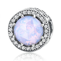 Sterling Silver Charm With Opalescent Crystal & CZ Fits European Charm B... - £12.88 GBP