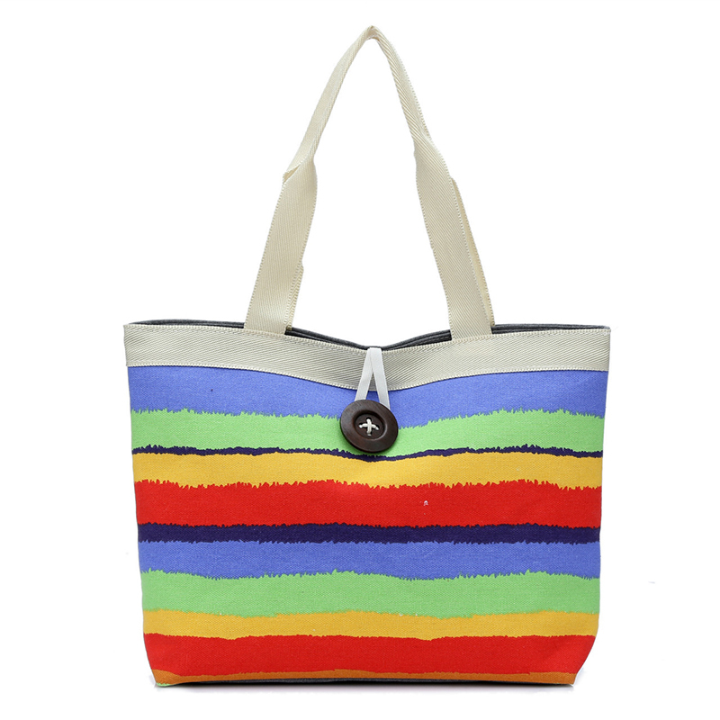 Rful 4colors fashion striped canvas bag casual shoulder bag handbag totes wholesale high quality